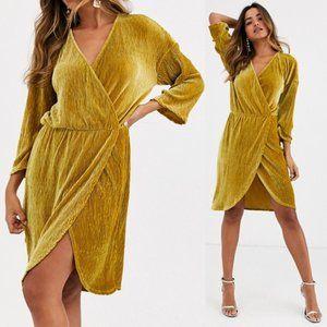 NWT Mustard Velvet Wrap Mini Dress